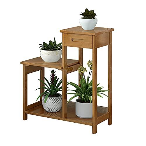 Utomhus trädgårdspottbänk, bambu arbetsstation planteringsbord justerbar förvaringsskåp lådhyllor hemmöbler för uteplats