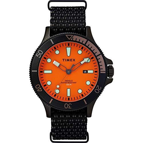 Timex Men's Allied Coastline 43mm Quartz Canvas Strap, Black, 20 Casual Watch (Model: TW2T30200)