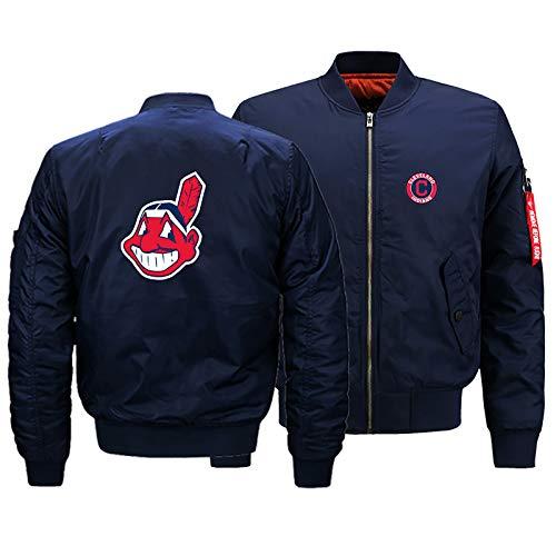 GMRZ MLB Herren Jacke, Mit Cleveland Indians Logo Major League Baseball Team Sweatshirts Fans Jerseys Sweatjacke Mit Warm Winter Outdoor Ski-Jacket,A,L