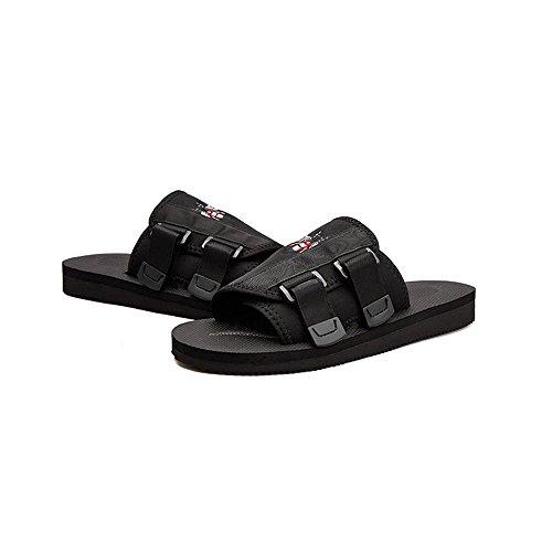 WangQM Männer Sandalen Männer Sommer Netto atmungsaktiv Outdoor Indoor lässig Strand Flip Flops einfach zu tragen und ausziehen Herren Dusche Sandalen (Farbe : Black, Size : 44)