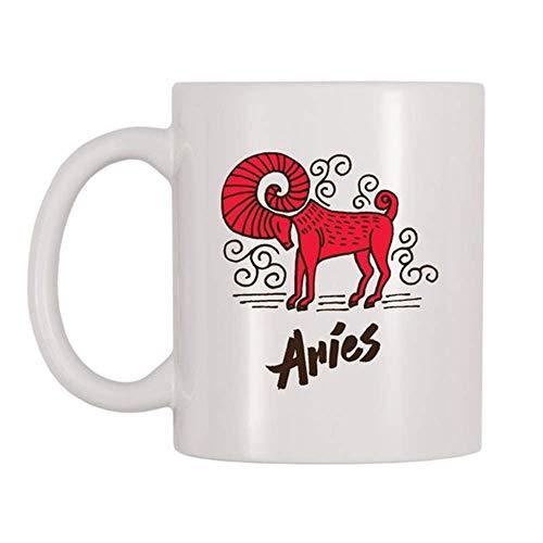 Taza Aries, Animal, The Ram, Signo del zodiaco, Primer signo astrológico, Taza temática de marzo, de abril, regalo para cumpleaños, taza de cafétaza de té de cerámica de 11 oz, alto brillo
