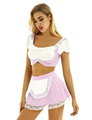 Dessous-Sets Für Damen Erotische Dessous Frauen Schöne Sexy Uniform Ausgefallene Cosplay Kostüme Ärmel Rock-Pink_L