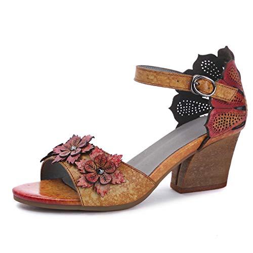 Suetar Sandali Vintage da Donna con Tacco a Blocchi 5.5CM in Vera Pelle Estate Elegante Retro Tacco Basso Sandali a Punta Aperta per Le Signore