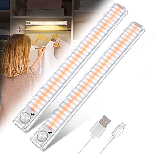 120 LED Luces Armario con Sensor de Movimiento, Luces LED Armario USB Recargable con Adhesiva Magnética, Brillo Ajustable,4 Modos, para Mostrador, Armario, Cocina, Pasillo, Escaleras ( 2 PCS)