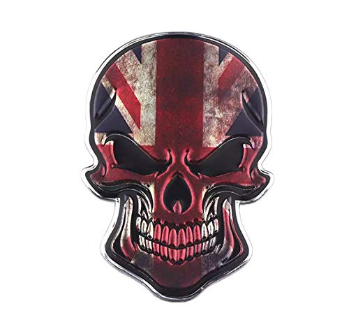 JUST.ETHEREAL Skull 3D England Flag Car Stickers United Kindom Emblem UK Badge Decal For any type of Car Auto Styling