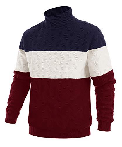 EKLENTSON Herren Freizeitshirts Sweatshirts Sweatpullover Herbts Winter Pullover Warme Baumwolle, Weinrot