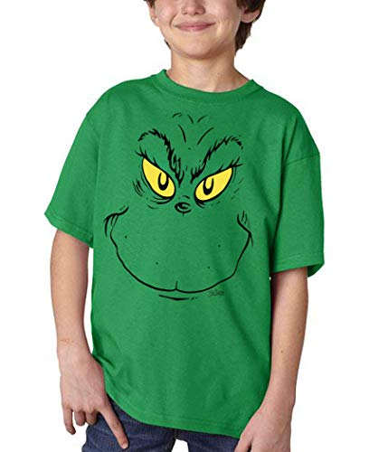 Dr. Seuss Grinch Face Youth Kids T-Shirt (Youth Small, Green, Size Youth - Small