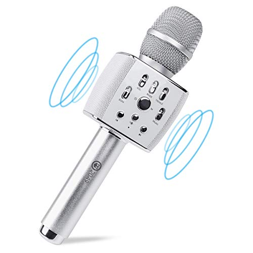 2049 X37 12w Cardioid Dynamic Karaoke Microphone, Adult Kid Handheld Wireless Bluetooth Karaoke Machine for Home/Carpool/Party/Classroom/Outdoor Compatible with Smart phone/PC/PAD/Car Speaker/TV