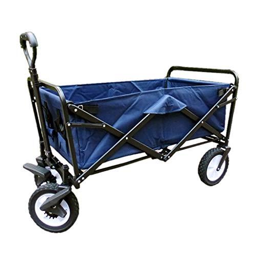 Faltbarer Bollerwagen Zusammenklappbarer Klappbarer Gartenwagen Schwerlast Trolley Wagon Multifunktions-Warenkorb für draußen Camping Strand LKW ziehen mit 4 Rädern, Belastung: 100kg ( Color : Blue )