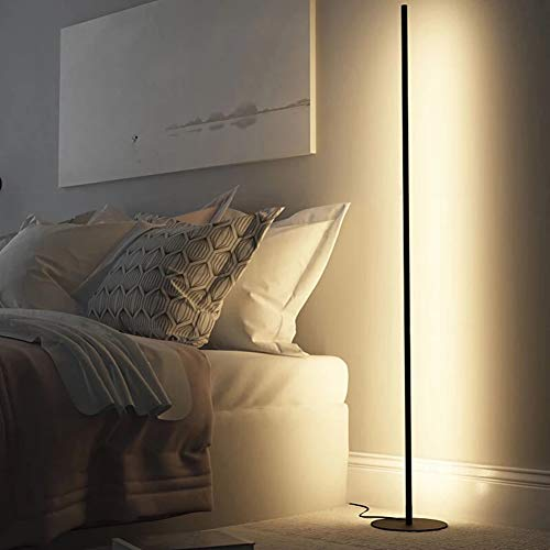 WRQ Lámpara Pie Esquina LED RGB Nórdica Minimalista con Control Remoto Lámpara Color 20W para Salón, Dormitorio, Sala Juegos (Negro)