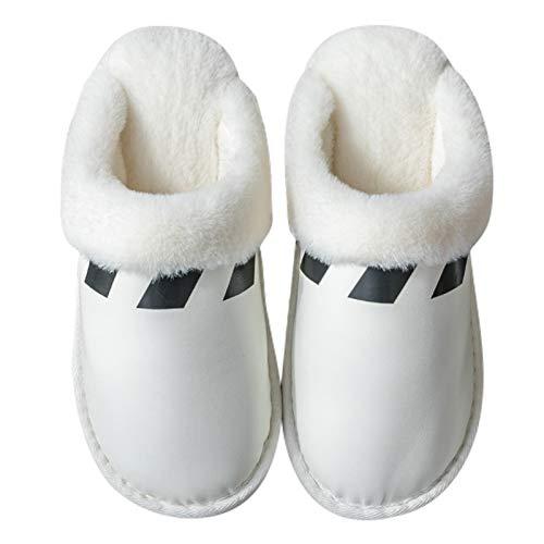 CNZXCO Zapatillas de jardín Pareja de Invierno Zapatillas de algodón Interior Impermeable Antideslizante Antideslizante Muebles para el hogar Zapatos de Cuero Caliente Hombres Unisex