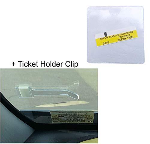 Parkausweis-Halter für Parkausweis, selbstklebend, transparent, quadratisch + Windschutzscheiben-Halterung Clip