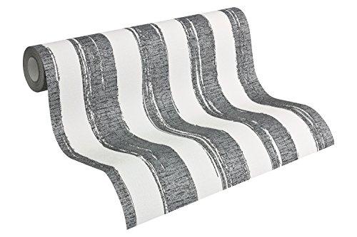 A.S. Création Vliestapete Shabby Style Tapete Streifentapete 10,05 m x 0,53 m beige schwarz weiß Made in Germany 941562 94156-2