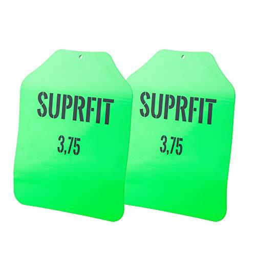 Suprfit Sigurd 3D - Dischi per pesi, peso aggiuntivo per Gilet Sigurd 3D, peso: 1,7 kg, 2,6 kg o 4 kg, forma ergonomica, distribuzione ottimale del peso, verniciati a polvere, 1) verde - 3,4 kg.