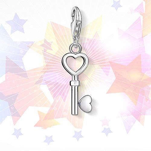 Colgantes De Plata 925 para Mujer,Moda Cute Chainless Romántica Love Angel Puerta Forma Clave Encante para Damas Accesorios Joyas Regalo De Cumpleaños Parte Accesorios