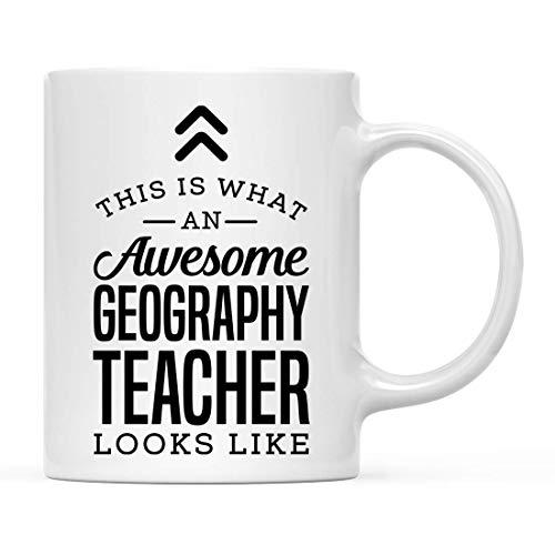 N\A Taza de cerámica para café, té, Regalo, así es como se ve un Profesor de geografía Impresionante, Paquete de 1, Ideas de Regalo de cumpleaños para él, Ella, Incluye Caja de Regalo