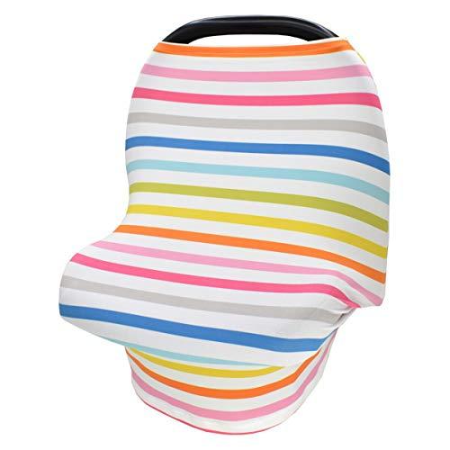 DERCLIVE Cubierta de lactancia para bebé de color arco iris de lactancia cubierta elástica para cochecito de bebé