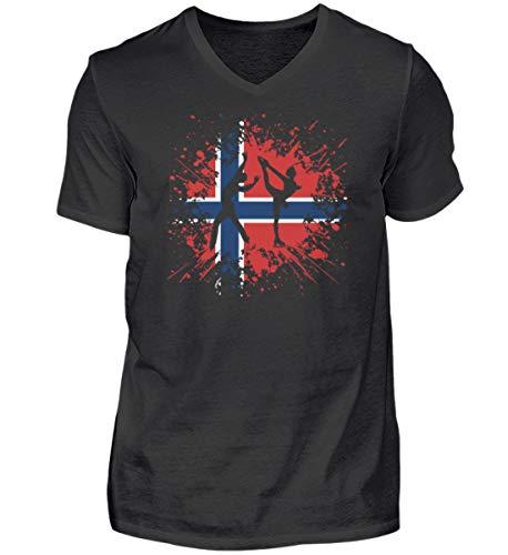 Camiseta de manga corta con cuello de pico para hombre de Noruega, regalo para los amantes de los deportes de invierno, cuello en V