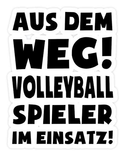 shirt-o-magic Aufkleber Volleyball: Volleyballspieler im Einsatz! - Sticker - 5x5cm - Weiß