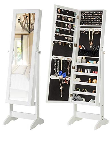 YOKUKINA Jewelry Cabinet Free Standing Large Storage Lockable Armoire Full Length Dressing Mirror Organizer