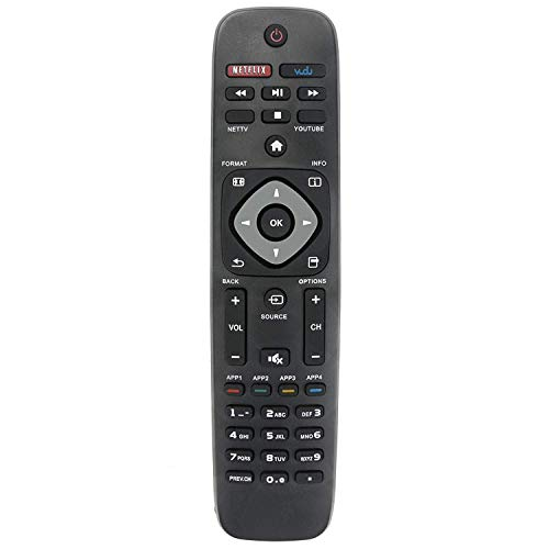 Universal Remote Control Replacement for Philips TV Remote, Compatible with Various Philips LCD LED 4K UHD Smart TVs Remote