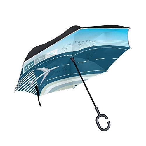 Rode paraplu voor buiten, winddicht, met greep in C-vorm, vliegtuig, dubbellaags, omgekeerd.
