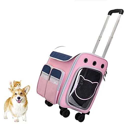 DUTUI Bolsa para Mascotas, Caja para Mascotas con Carrito Portátil para Salir, Mochila Desmontable, Bolsa para Gatos Transpirable Y Bolsa para Perros, Apta para Salir,Rosado