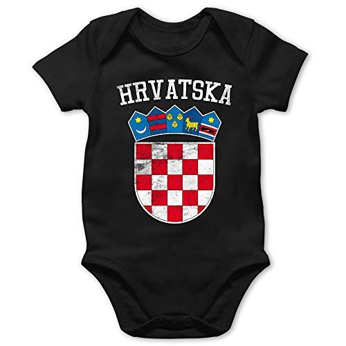 Shirtracer Fußball-Europameisterschaft 2021 - Baby - Kroatien Wappen WM - 12/18 Monate - Schwarz - Baby 3 Monate Junge - BZ10 - Baby Body Kurzarm für Jungen und Mädchen