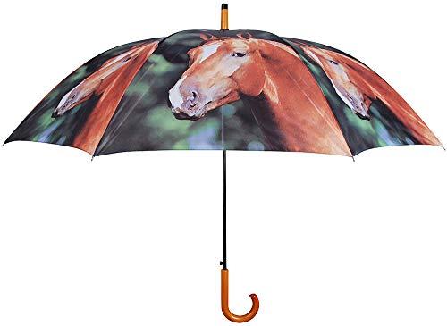 Esschert Design Regenschirm Pferd Stockschirm für 2 Personen Bauernhof Ø 120cm