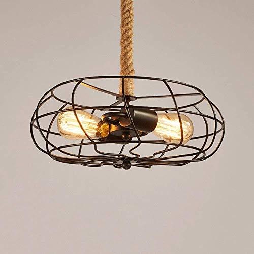 Popertr Retro Land-Anhänger-Licht-Lampe Industrielle Art Ventilator mit Cage & Hanf-Seil-2-Leuchten Decken-Leuchten Kreativ Café Bar Restaurant Droplight