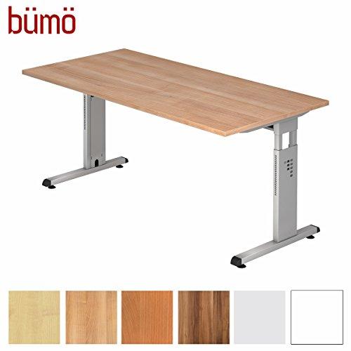 bümö® Stabiler Schreibtisch höhenverstellbar 160 x 80 cm | Bürotisch in Nussbaum | Büroschreibtisch mit Höheneinstellung | Tisch für Büro in 9 Größen & 7 Dekoren
