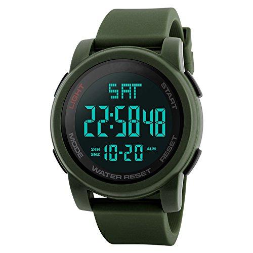 FunkyTop Men's Outdoor Sports Watch Waterproof Electronic LED Back Light Big Face Wristwatch (Army green)