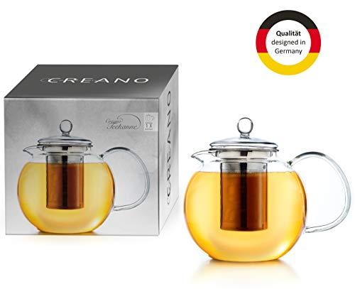 Creano Glas-Teekanne 0,85l 3-Teiliger Teebereiter mit Integriertem Edelstahl-Sieb und Glas-Deckel, Ideal zur Zubereitung von Losen Tees, tropffrei, All-in-One …