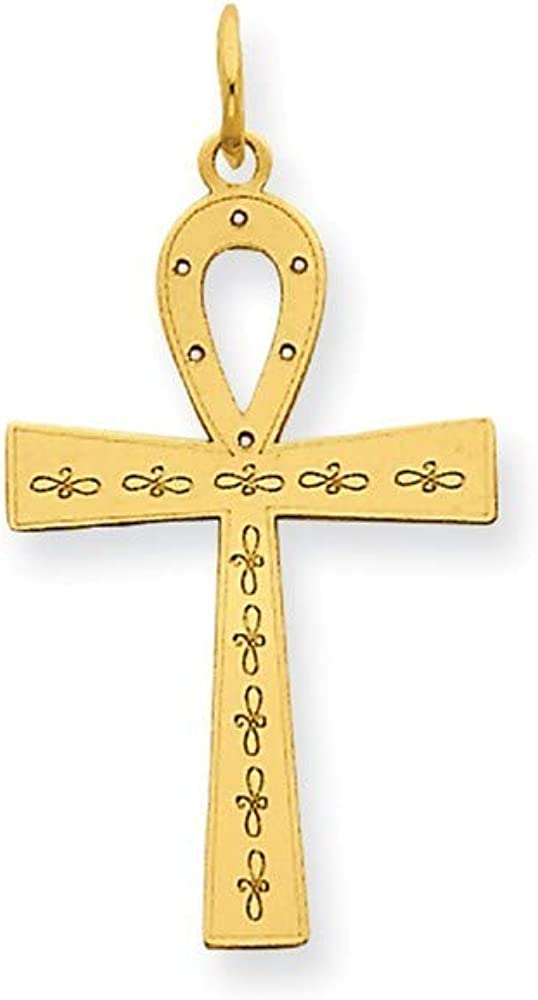 百貨店 14k オンライン限定商品 Laser Designed Ankh Religious Neck Pendant Faith Charm Cross