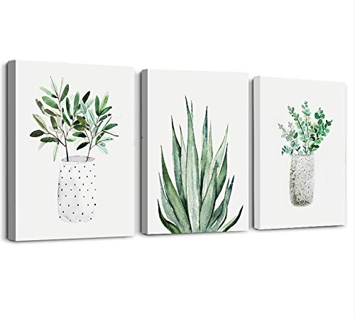farmhouse Wall Art painting for dining room bathroom Abstract Canvas art family Wall decor for Bedroom kitchen Wall Decoration Living Room decor art Green Leaf pictures Artwork for home walls 3 piece