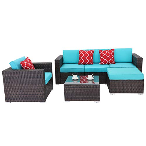 Do4U Patio Porch Furniture Sets 6-Piece for Home Outdoor All-Weather PE Rattan Chair Set with Coffee Table (Turquoise)