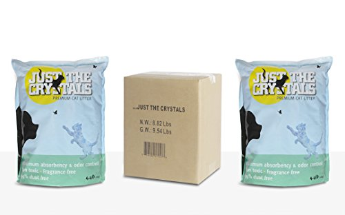 Just the Crystals 2-Pack. Longest Lasting Premium Non-Clumping Crystal Cat Litter Absorbs More, Fragrance Free, Best Odor Control. Two 4.4lb Bags per Box (Total 8.8lbs) for Ultimate Convenience.