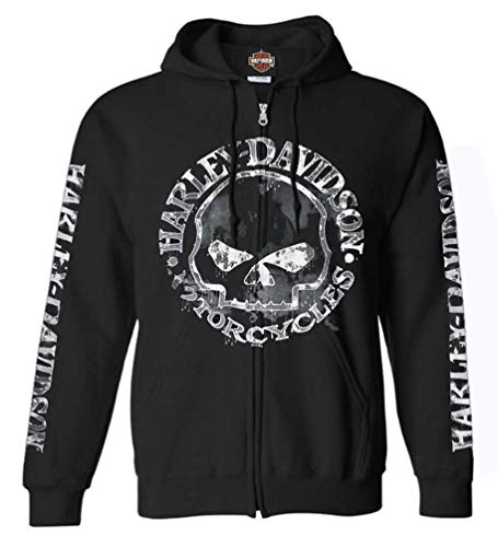 Harley-Davidson Men's Zippered Sweatshirt Jacket, Willie G Skull 30296647 (XL) Black