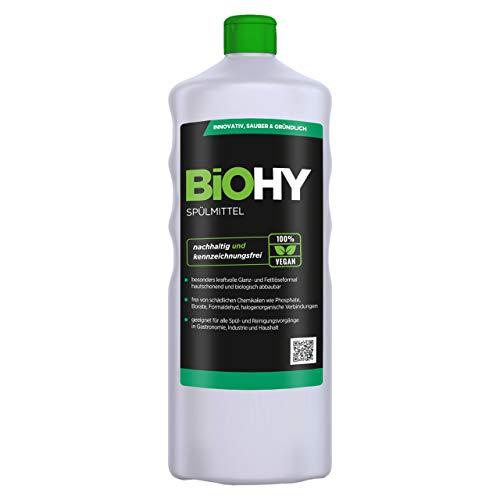BiOHY Spülmittel (1l Flasche) | Frei von schädlichen Chemikalien & biologisch abbaubar | Glanz- & Fettlöseformel | Für Gastronomie, Industrie und Haushalt geeignet