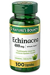 Nature's Bounty Echinacea 400 mg Natural, 100 Capsules