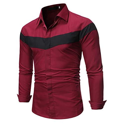 Herrenhemden, langärmlige farblich passende Herren Fancy Casual Shirt Vollknöpfe Anti-Falten Atmungsaktive Baumwolle Herren Tops