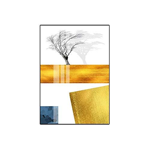 LCSD Telón de fondo de sofá nórdico decorativo de porcelana pintura de la sala de estar pinturas decorativas minimalistas restaurante de cristal dorado porcelana pintura B versión 40 * 60 cm