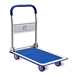COMPACT & FOLDABLE - Are you tired of big, clunky carts that take up precious space? That's why we designed a functional platform push cart that can be tucked away for easy storage, but ready and available for when you need it. Simply fold down the p...