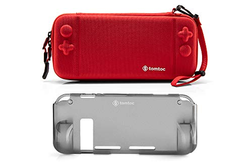 [Combo Set] tomtoc Original Hard Shell Case with Grip Back Cover for Nintendo Switch Console, Travel Carrying Protection Case with 10 Game Card Slots, Red