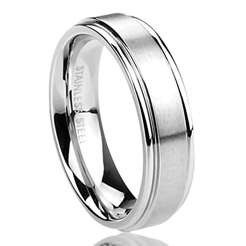 Prime Pristine 6mm Stainless Steel Wedding Band Ring for Men & Women Brushed Center Classy Ring for Men & Woman SZ: 8
