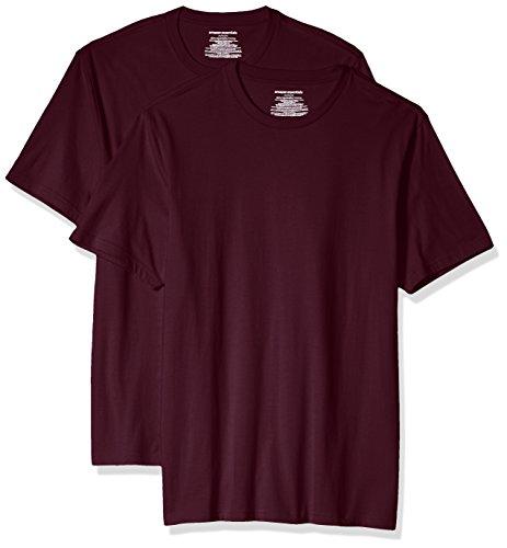 Amazon Essentials 2-Pack Slim-Fit Short-Sleeve Crewneck T-Shirt Fashion-t-Shirts, Burgundy, US S (EU S)