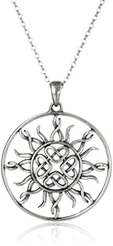 Sterling Silver Oxidized Celtic Love Knot Sun Pendant Necklace, 18'