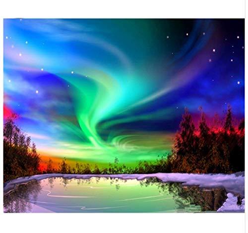 Aurora Home & Living Diamant borduurwerk noorderlicht DIY diamant schilderij kruissteek strass mozaïekkits 50x70cm/20x28in