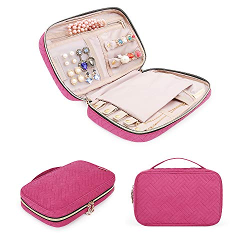 BAGSMART Jewelry Organizer Bag Travel Jewelry Storage Cases for Necklace, Earrings, Rings, Bracelet, Rose Pink