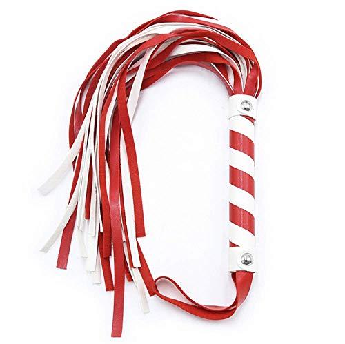 Bnmgh Whp Rojo y Blanco, Montar en Cuero sinttico, Accesorios de Disfraz de Cosplay, Disponible para Hombres y Mujeres